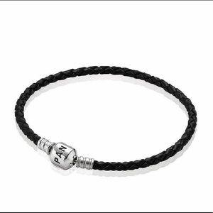 Pandora Single Black Leather Bracelet ~ Retired
